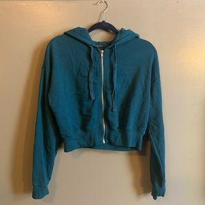 Cropped sea green zip up hoodie